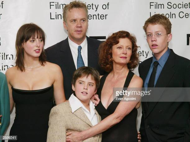 Actress Susan Sarandon and her daughter Eva Amurri , sons Miles and Jack and partner Tim Robbins stand backstage at The Film Society of Lincoln...