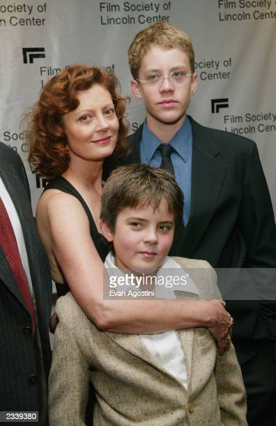 Actress Susan Sarandon and her sons Miles and Jack stand backstage at The Film Society of Lincoln Center's Tribute to Susan Sarandon at Avery Fisher...