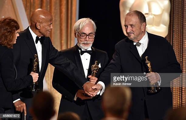 Actress Susan Sarandon and honorees Harry Belafonte Hayao Miyazaki and JeanClaude Carriere pose onstage during the Academy Of Motion Picture Arts And...