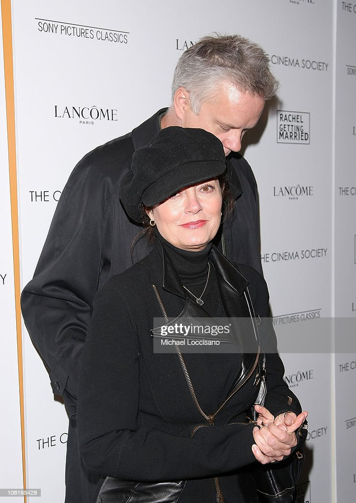 Actress Susan Sarandon and husband, actor Tim Robbins attend a screening of 'Rachel Getting Married' hosted by The Cinema Society and Lancome at the Landmark Sunshine Theatre on September 25, 2008 in New York City.