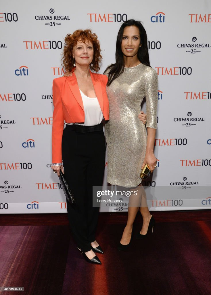 Actress Susan Sarandon (L) and Padma Lakshmi attend the TIME 100 Gala, TIME's 100 most influential people in the world, at Jazz at Lincoln Center on April 29, 2014 in New York City.