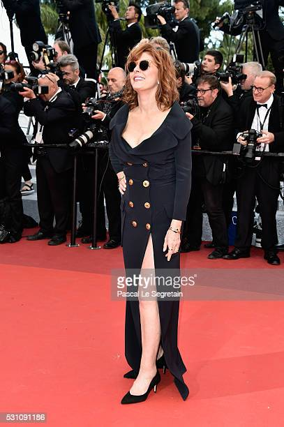 Actress Susan Sarandon attends a screening of 'Money Monster' at the annual 69th Cannes Film Festival at Palais des Festivals on May 12 2016 in...