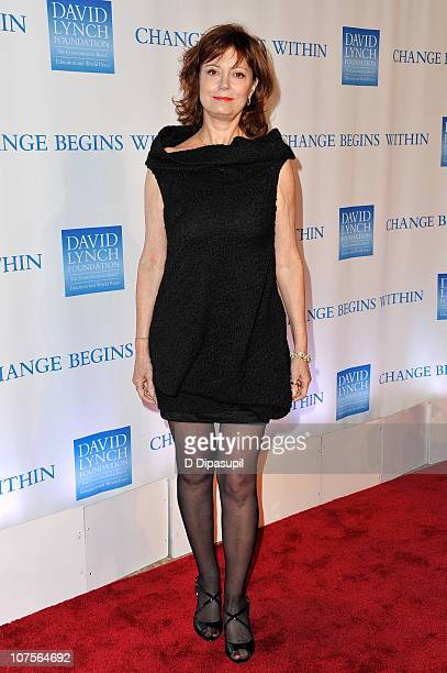 "Actress Susan Sarandon attends the 2nd Annual David Lynch Foundation's ""Change Begins Within"" Benefit Celebration at The Metropolitan Museum of Art..."