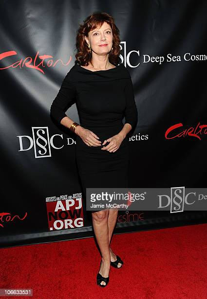 Actress Susan Sarandon attends the Artists for Peace and Justice's 'Let's Build a School for Haiti' fundraising dinner at Salon Millesime at the...