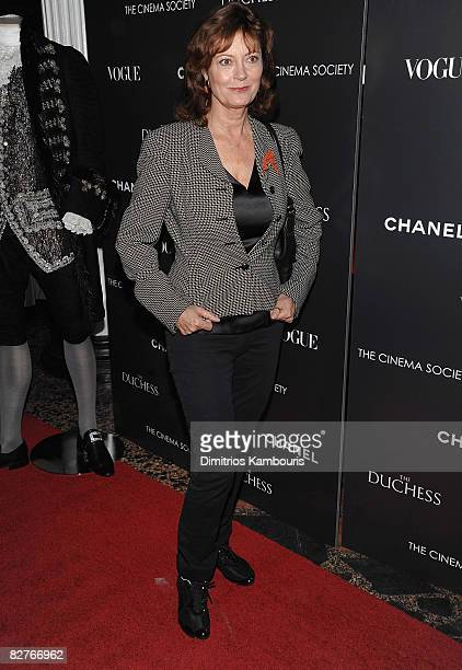 Actress Susan Sarandon attends the Cinema Society with Chanel and Vogue's screening of The Duchess at the Public Theater on September 10 2008 in New...