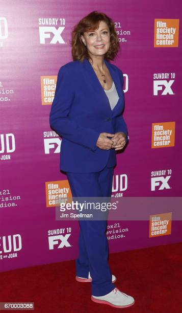Actress Susan Sarandon attends the 'Feud Bette and Joan' NYC event at Alice Tully Hall at Lincoln Center on April 18 2017 in New York City
