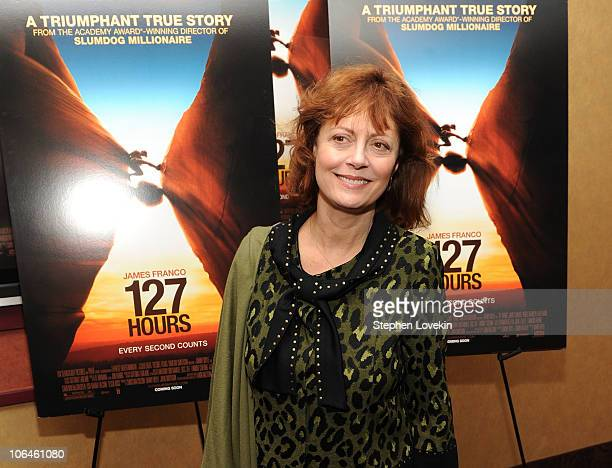 Actress Susan Sarandon attends the New York premiere of 127 Hours at Chelsea Clearview Cinema on November 2 2010 in New York City