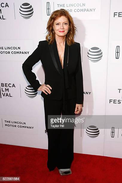 """Actress Susan Sarandon attends the premiere of """"The Meddler"""" at Borough of Manhattan Community College during the 2016 TriBeCa Film Festival on April..."""