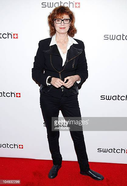 """Actress Susan Sarandon attends the private launch of Swatch """"New Gents Collection"""" at Gansevoort Park Avenue on October 6, 2010 in New York City."""