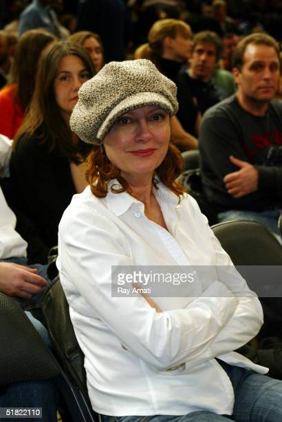 Actress Susan Sarandon courtside at the New York Knicks versus Orlando Magic game at Madison Square Garden on December 3 2004 in New York City NOTE...
