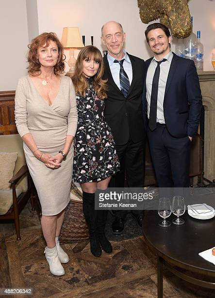 Actress Susan Sarandon director Lorene Scafaria actors JK Simmons and Jason Ritter attend The Meddler TIFF party hosted by GREY GOOSE Vodka and Soho...