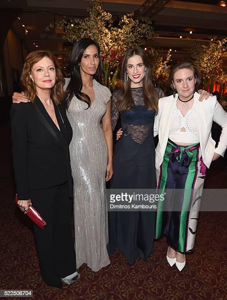Actress Susan Sarandon EFA cofounder and host Padma Lakshmi actress Allison Williams and actress Lena Dunham arrive at the 8th Annual Blossom Ball...