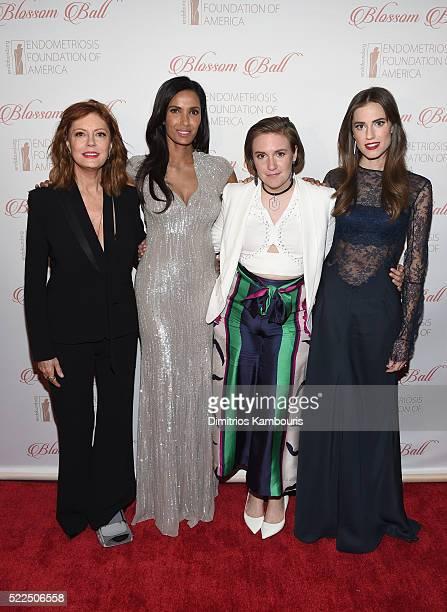 Actress Susan Sarandon EFA cofounder and host Padma Lakshmi honoree Lena Dunham and actress Allison Williams arrive at the 8th Annual Blossom Ball...