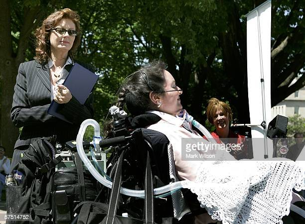 Actress Susan Sarandon introduces Brooke Ellison who is a quadropelegic during a rally on Capitol Hill May 2 2006 in Washington DC Sarandon and...