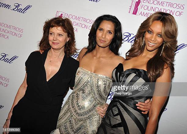 Actress Susan Sarandon Padma Lakshmi and Tyra Banks attend the Endometriosis Foundation of America's 4th annual Blossom Ball at The New York Public...