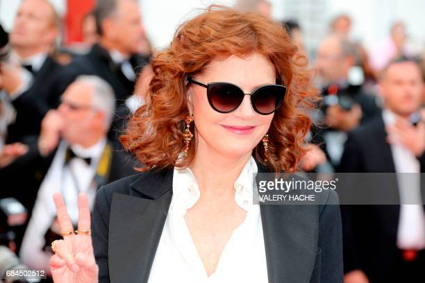 US actress Susan Sarandon poses as she arrives on May 18 2017 for the screening of the film 'Loveless' at the 70th edition of the Cannes Film...