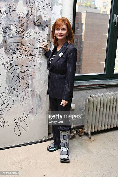 Actress Susan Sarandon poses for a photo after discussing her comedy-drama film 'The Meddler' during AOL Build Speaker Series at AOL Studios In New...