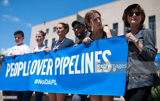 Actress Susan Sarandon right joins Dakota Access Pipeline protesters in front of the E Barrett Prettyman Federal Courthouse in Washington before the...