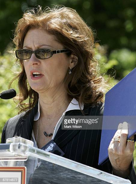 Actress Susan Sarandon speaks during a rally on Capitol Hill May 2 2006 in Washington DC Sarandon was one of many speakers during the Working 2 Walk...