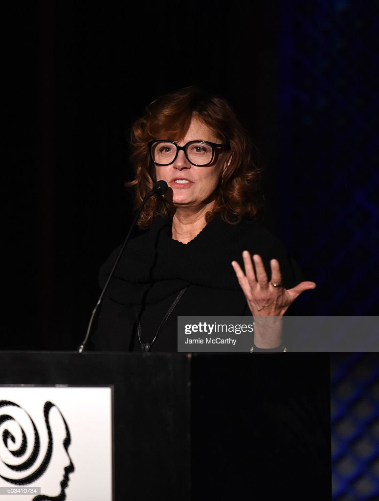 Actress Susan Sarandon speaks on stage during 2015 New York Film Critics Circle Awards at TAO Downtown on January 4, 2016 in New York City.