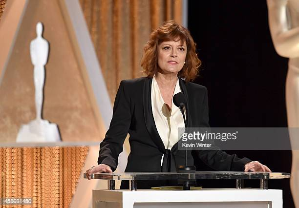 Actress Susan Sarandon speaks onstage during the Academy Of Motion Picture Arts And Sciences' 2014 Governors Awards at The Ray Dolby Ballroom at...