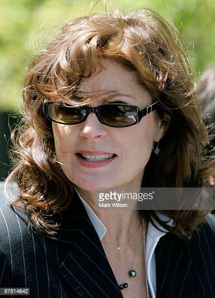 Actress Susan Sarandon speaks with other guests during a rally on Capitol Hill May 2 2006 in Washington DC Sarandon was one of many speakers during...