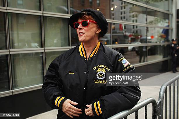 Actress Susan Sarandon wears a Teamsters jacket at a labor rally where members of the Occupy Wall Street community joined Teamsters in front of the...