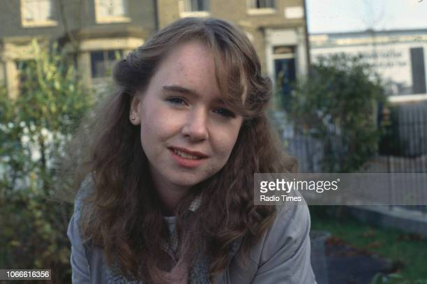 Actress Susan Tully pictured on the exterior set of the BBC soap opera 'EastEnders' August 8th 1986