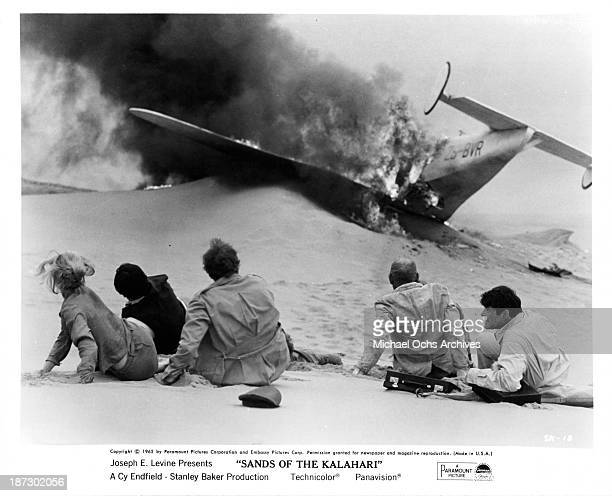 Actress Susannah York Actors Stuart WhitmanStanley Baker Harry Andrews on set of Paramount Pictures movie Sands of the Kalahari in 1965