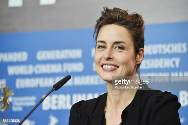 Actress Susanne Wolff attends the 'Return to Montauk' press conference during the 67th Berlinale International Film Festival Berlin at Grand Hyatt...