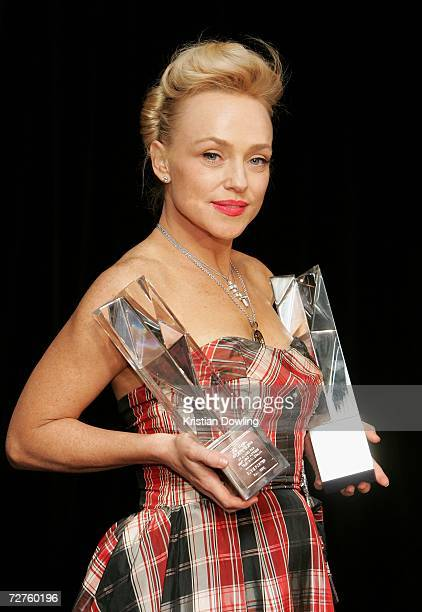 Actress Susie Porter poses with the AFI Awards for Best Lead Actress in Television Drama for Run and Best Supporting Actress for The Caterpillar Wish...