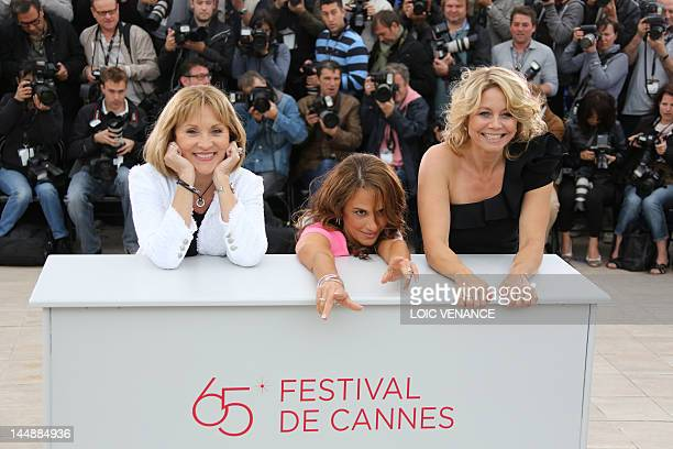 Actress Susse Wold Swedish actress Alexandra Rapaport and Danish actress AnneLouise Hassing pose during the photocall of Jagten presented in...