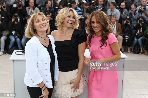 """Actress Susse Wold , Swedish actress Alexandra Rapaport and Danish actress Anne-Louise Hassing pose during the photocall of """"Jagten"""" presented in..."""