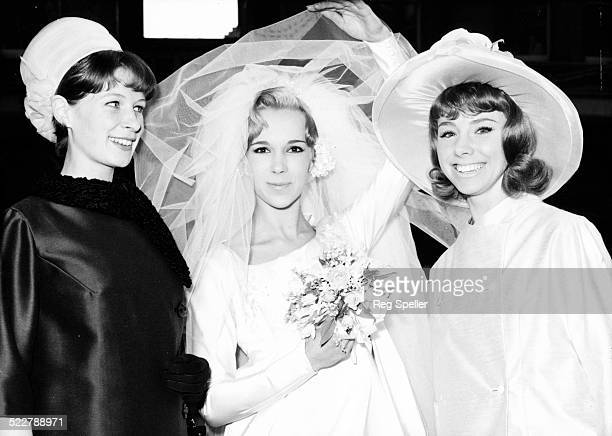 Actress Susuan Passmore on her wedding day with Fiona Dickson and Barbara Brown St James's Church Spanish Place London March 8th 1965