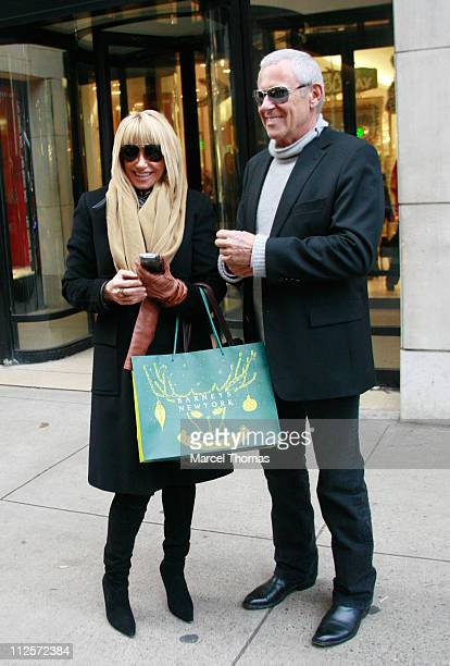 Actress Suzanne Somers and husband Alan Hamel shop at Barney's Madison Avenue store December 12 2007 in New York City