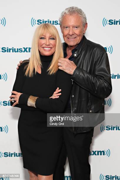 Actress Suzanne Somers and husband Alan Hamel visit the SiriusXM Studios on November 15 2017 in New York City