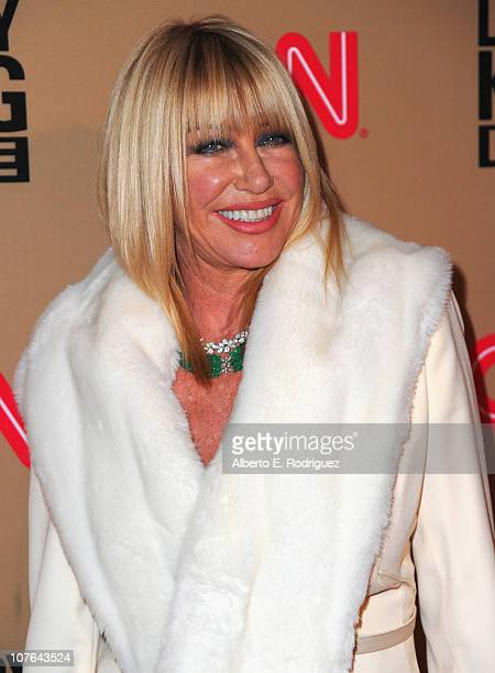 """Actress Suzanne Somers arrives at CNN's """"Larry King Live"""" final broadcast party at Spago restaurant on December 16, 2010 in Beverly Hills, California."""
