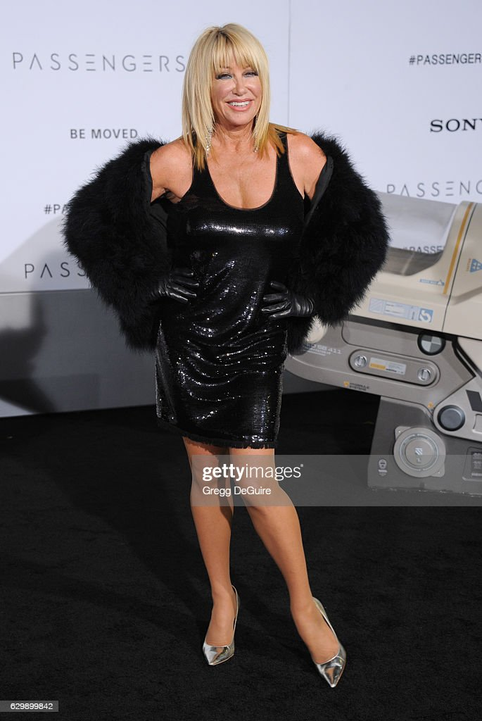 Actress Suzanne Somers arrives at the premiere of Columbia Pictures' 'Passengers' at Regency Village Theatre on December 14, 2016 in Westwood, California.