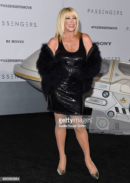 Actress Suzanne Somers arrives at the premiere of Columbia Pictures' 'Passengers' at Regency Village Theatre on December 14, 2016 in Westwood,...