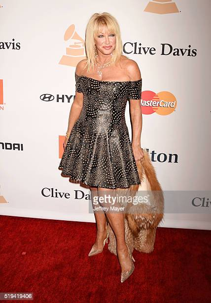 Actress Suzanne Somers attends the 2016 PreGRAMMY Gala and Salute to Industry Icons honoring Irving Azoff at The Beverly Hilton Hotel on February 14...