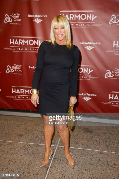 Actress Suzanne Somers attends the opening night for the musical 'Harmony' at Ahmanson Theatre on March 12 2014 in Los Angeles California