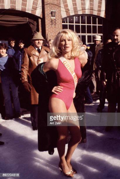 Actress Suzanne Somers poses with her hand on her hip in Central Park New York City 1964