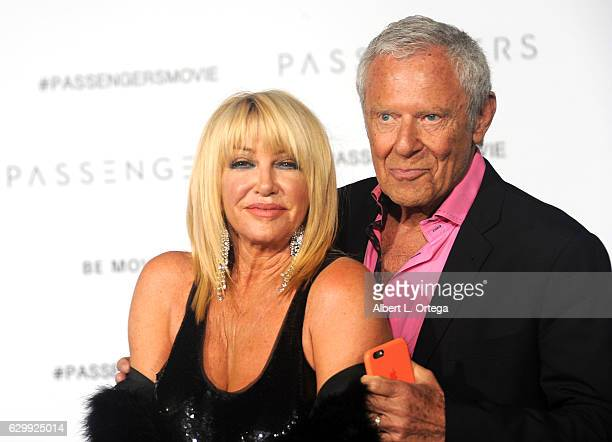 Actress Suzanne Sommers and Alan Hamel arrive for the Premiere Of Columbia Pictures' Passengers held at Regency Village Theatre on December 14 2016...