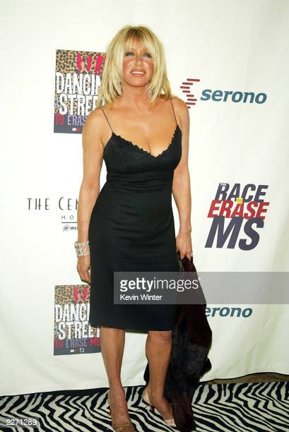 """Actress Suzanne Sommers arrives at the 10th Annual """"Race to Erase MS"""" at the Century Plaza Hotel on May 9, 2003 in Los Angeles, California."""