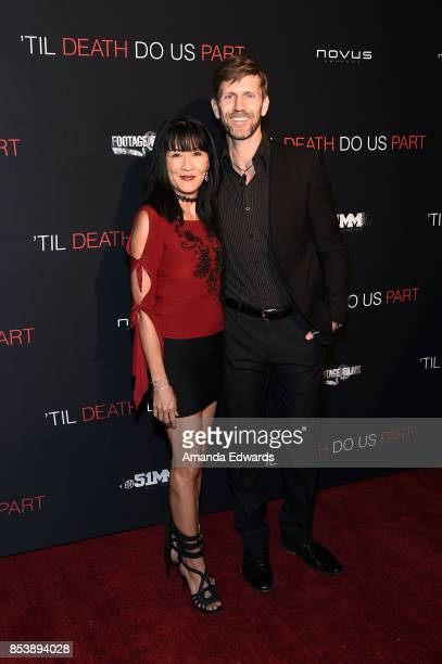 """Actress Suzanne Whang and musician Jeff Vezain arrive at the premiere of Novus Content's """"Til Death Do Us Part"""" at The Grove on September 25, 2017 in..."""