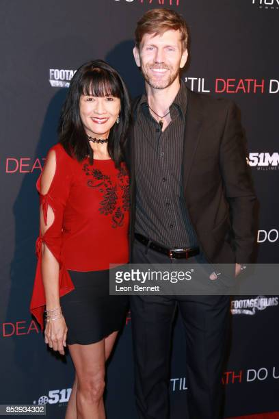 """Actress Suzanne Whang and musician Jeff Vezain attends the premiere of Novus Content's """"Til Death Do Us Part"""" at The Grove on September 25, 2017 in..."""