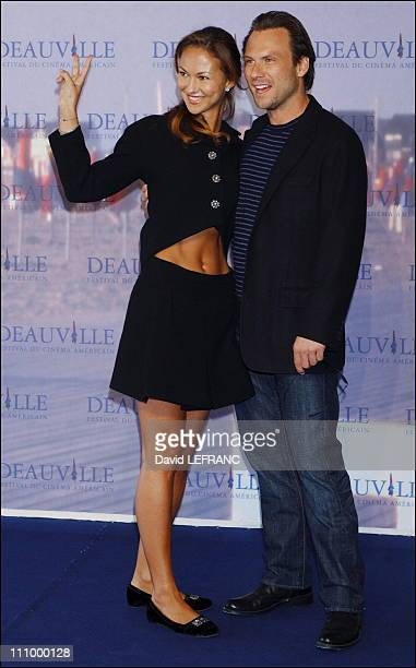Actress Svetlana Metkina and actor Christian Slater at the photo call of 'Bobby' at the 32nd American Film Festival in Deauville France on September...