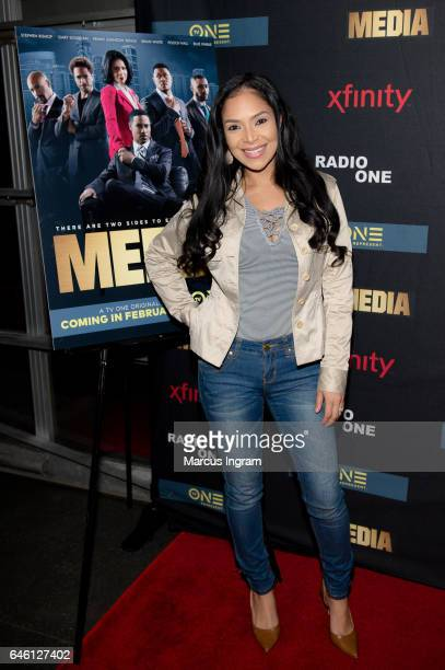 Actress Sy Sayonara Raymond attends TVOne 'MEDIA' watch party presented by Kontrol Magazine at Suite Lounge on February 23 2017 in Atlanta Georgia