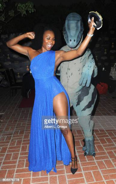 Actress Sydelle Noel of 'Glow' dances with Kevin Fox as a Velociraptor at the 43rd Annual Saturn Awards After Party held at The Castaway on June 28...
