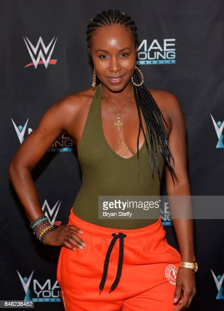 Actress Sydelle Noel of the television series 'GLOW' appears on the red carpet of the WWE Mae Young Classic on September 12 2017 in Las Vegas Nevada
